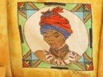 Drawn and painted on fabric -SA Tribal Placemats - Xhosa Woman