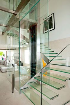 Malibu Residence by Fernanda Marques Arquitetos Associados. Those who live in glass houses. the fact that there's a glass elevator in the house, b. Interior Staircase, Staircase Design, Interior Architecture, Interior Design, Staircase Ideas, Interior Decorating, Staircase Remodel, Diy Decorating, Modern Interior
