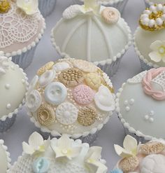 Lace & Vintage Buttons Covered Cupcakes