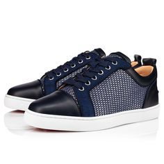 Louis Junior Orlato Classic Leather, Black Leather, Christian Dior, Christian Louboutin, Louboutin Online, Blue Flats, Blue Suede, Online Boutiques, High Top Sneakers