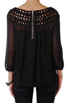 Zip Back Blouse - Long Sleeve Chiffon Top - Humblechic.com