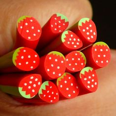 Strawberry Polymer Clay Cane Fruit Fimo Cane for by MiniatureSweet, $1.20