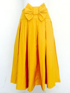 Mustard Bow Skirt Tara Lynn's Boutique