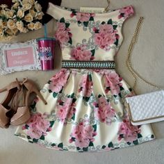 Vestido Laiane NEOPRENE Ombro à  Ombro  ( Estampa Rosas/ Fundo OFF)