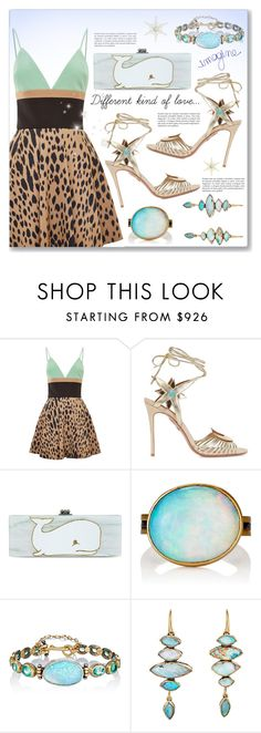 """""""Different kind of love..."""" by dressedbyrose ❤ liked on Polyvore featuring FAUSTO PUGLISI, Aquazzura, Edie Parker, Judy Geib, women's clothing, women, female, woman, misses and juniors"""