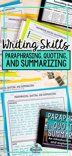 Paraphrase Quote Summarize: Teach your students how to paraphrase quote and summarize text with this mini-unit. Your students will learn the differences between paraphrasing quoting and summarizing and when to use each one in their writing. Writing Lessons, Teaching Writing, Writing Skills, Essay Writing, How To Teach Writing, Teaching Ideas, Writing Centers, Writing Ideas, High School Writing