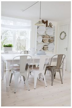 Tolix Chairs – I can't decide on which colour, white, silver or grey? 22 Great Modern Decor Ideas To Copy Asap – Tolix Chairs – I can't decide on which colour, white, silver or grey? Decor, Cafe Chairs, Dining Room Chairs, Interior, Dining Chairs, Home Decor, Mix Match Dining Chairs, House Interior, Bistro Chairs