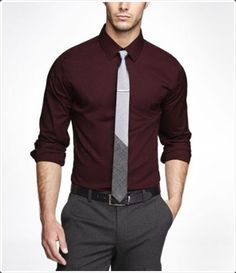 These dark gray pants look especially cool with dark colored shirts.