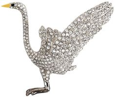 $398, Brooks Brothers Audubon Crane Crystal Brooch. Sold by Brooks Brothers. Click for more info: https://lookastic.com/women/shop_items/130881/redirect