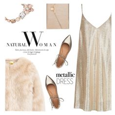 """""""New Look Metallic Dress"""" by renna-ravenwood ❤ liked on Polyvore featuring New Look, Sigerson Morrison, Accessorize, Oscar de la Renta and metallicdress"""