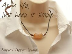Apricot Fire Agate Casual Necklace on by NaturalDesignStudio, $43.00