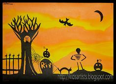 Lots of kids art projects for Halloween  skeleton can be made with qtips painted black