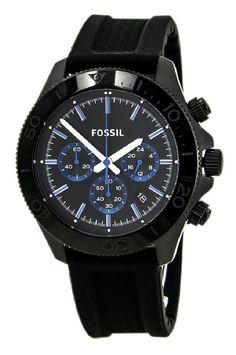 FOSSIL® Retro Traveler Chronograph Black Silicone Watch