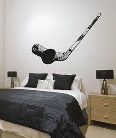 Vinyl Wall Decal Sticker Hockey Puck and Stick #5092