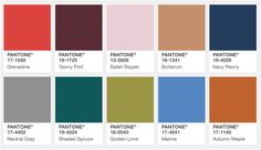 """Color Palette for New York  """"Bookended by a dynamic Grenadine red and a tawny Autumn Maple, the color palette for Fall 2017 leans more to warmth, """" says Eiseman. """"While comforting, enveloping colors and ease are crucial to the seasonal feeling, standout shades include a pale pink Ballet Slipper, a refreshing Golden Lime, and a bright Marina blue. These hues add a striking touch when paired with the classic autumnal shades of Navy Peony, Neutral Gray, Butterrum and Tawny Port."""""""