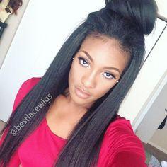 Kinky Straight Hair Style @Bestlacewigs