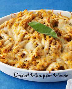 Baked Pumpkin Penne - meatless monday, vegetarian entree, comfort food...