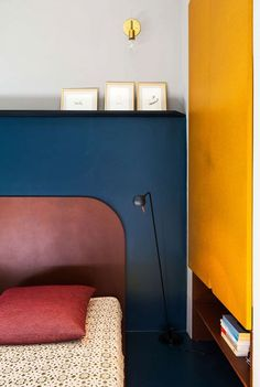 Modern shapes and hues in a minimal space can make a corner way more interesting.