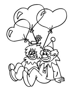 Valentine's day color page. Holiday coloring pages and Seasonal coloring pages. Coloring pages for kids. Thousands of free printable coloring pages for kids! Tangled Coloring Pages, Pokemon Coloring Pages, Coloring Book Pages, Coloring Sheets, Clown Pics, Le Clown, Birthday Clown, Valentines Day Coloring Page, Free Printable Coloring Pages