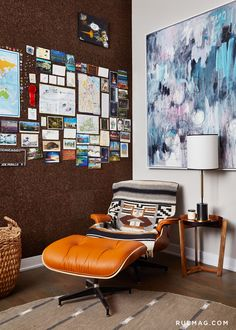 interesting reading nook in a corner with corkboard, allowing for an informal, small-scale gallery wall
