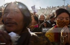 Tibetan Buddhist nomads pray during a morning chanting session as part of the annual Bliss Dharma Assembly at the Larung Wuming Buddhist Institute on October 30, 2015 in Sertar county, in the remote Garze Tibetan Autonomous Prefecture, Sichuan province, China. The last of four annual assemblies, the week long annual gathering takes place in the ninth month of the Tibetan calendar and marks Buddha's descent from the heavens. Located high in the mountains of Sichuan, the Larung Wuming…