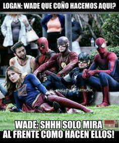 #wade #deadpool #logan #wolverine #flash #captainamerica #supergirl #spiderman Deadpool y su manera de integrarse!!!