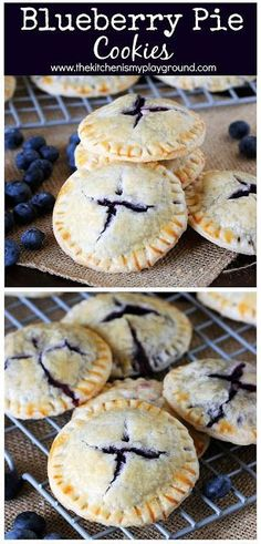 Blueberry Pie Cookies ~ Filled with homemade fresh blueberry pie filling . - Blueberry Pie Cookies ~ Filled with homemade fresh blueberry pie filling, … – FOOD. Mini Blueberry Pies, Blueberry Cookies, Blueberry Recipes, Blueberry Drinks, Blueberry Chicken, Homemade Blueberry Pie, Blueberry Pancakes, Homemade Vanilla, Cake Mix Cookie Recipes