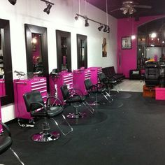"""Our design area includes 8 """"pink toolbox"""" stations as well as stations for nails and other 