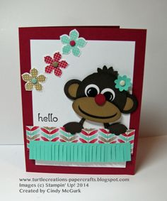 Hello Monkey Punch Art -  Cindy McGurk, CDN ONT, A card I made for my granddaughter's 5th birthday and to do at a punch art class. I used a punch art tutorial by Jackie Topa for my sweet little monkey. I used Mojo Monday Sketch 324 for my layout. New product was the Petite Petals and punch; fringe scissors and Fresh Prints Paper Stack.