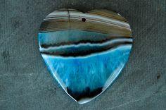 46mm Agate Pendant Turquoise Blue, Black Stripes Gemstone Heart Druzy Geode…
