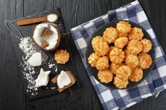 Delicious Homemade Coconut Macaroons Cookies On Stock Photo (Edit Now) 1076656889 Coconut Macaroons, Ale, Food And Drink, Homemade, Cookies, Vegetables, Ethnic Recipes, Crack Crackers, Home Made