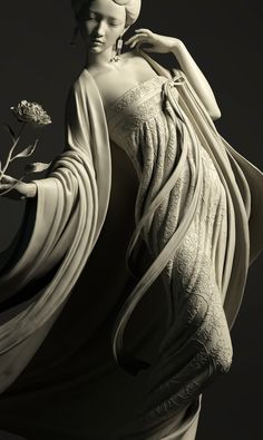I design this statue because I love traditional art, and wanted to do some stlye developing. Statue Ange, 3d Pose, Ancient Greek Sculpture, Bild Tattoos, Poses, Human Anatomy, Aesthetic Art, Traditional Art, Asian Art