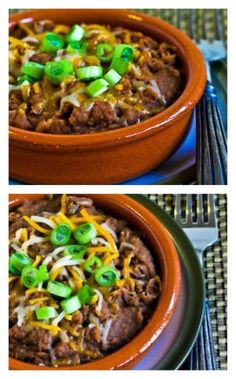 Pressure Cooker Refried Beans with Onion, Garlic, and Green Chiles - Instant Pot - Skip the oil and the cheese