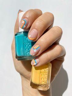Purple And Pink Nails, Lemon Nails, Rainbow Nail Art, Essie Polish, Nail Care, Floral, Beauty, Inspiration, Shades