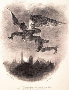 Una delle litografie di Delacroix ispirate al Faust di Goethe. Delacroix fu abile litografo e illustò, oltre al Faust, anche drammi shakespeariani (Amleto) e opere di Walter Scott.