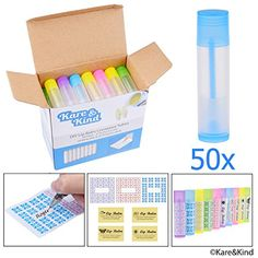 Lip Balm Container Tubes - 50-Pack (10x5 colors) - DIY - 3/16 Oz (5.5 ml) - Including 50 Writeable (10x5 colors)  #ToolsAccessories