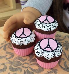 Eiffel Tower Cupcakes for American Girl Dolls - Dollicious Desserts by Dollicious Design by DolliciousDesign on Etsy https://www.etsy.com/listing/218821165/eiffel-tower-cupcakes-for-american-girl