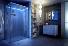 #TOTW Opt for more than one light source in your bathroom and ensure it's on different switches for flexibility – bright when required or moody and relaxing. Reloaded shower and enclosure by Teuco. teuco.com