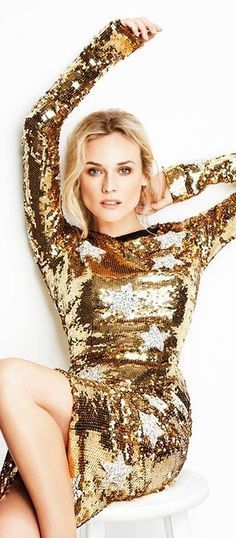 Diane Kruger by Ben Watts for InStyle Magazine Gold Sequins, Gold Sparkle, Gold Glitter, Le Bourgeois Gentilhomme, Gold Dress, White Dress, Glitter Dress, Gold Everything, Party Mode