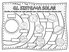 Fichas de Primaria: El sistema solar Solar System Worksheets, Solar System Activities, Science Activities For Kids, English Activities, Science Art, Social Science, Science Projects, Solar System Coloring Pages, Planet Coloring Pages