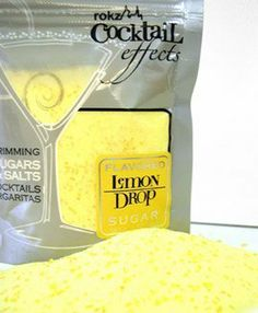 Lemon Drop Cocktail Sugar, drink rimmer by rokz. $7.99. Simply wet the edge of your glass and dip into the sugar for a new twist on the usual garnish. A sugared rim will add just the touch of flavor and sweetness. Lemon flavored sugar adds sparkle, color and flavor to the rim of the always classy lemon drops. Add color and sparkle to lemon drops, tea, lemonade, and whiskey sours. 5 oz resealable metallic package. Each package will rim approx. 50 drinks.    To use: Place about 3 t... Lemon Drop Cocktail, Cocktail Garnish, Cocktail Accessories, Festive Cocktails, Whiskey Sour, Bar Tools, Mixed Drinks, Gourmet Recipes, Lemonade