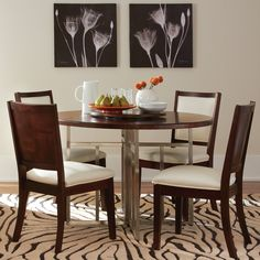Soho Wood Round Dining Table with 4 Chairs in Dark Brown