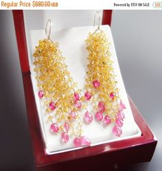 ON SALE Yellow and Hot Pink Sapphire Dangle by BijouxOdalisque