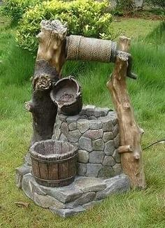 Wishing Well Outdoor Garden Water Fountain Yard and Garden Decor Garden Crafts, Garden Projects, Garden Art, Garden Design, Garden Water Fountains, Water Garden, Do It Yourself Garten, Wishing Well Garden, Water Features In The Garden