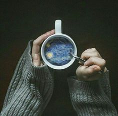 Credit: ArtsyyyAF I love this pin because it seems so simple, but when you look in the cup, it's very complex. I think this is something I'd like to try on photoshop with a simple image because it really brings the photo to life.
