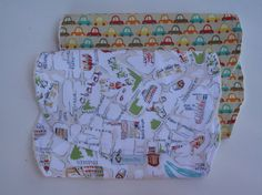 Set of 2 Burp Cloths  100% Cotton by RagamuffinsandCo on Etsy