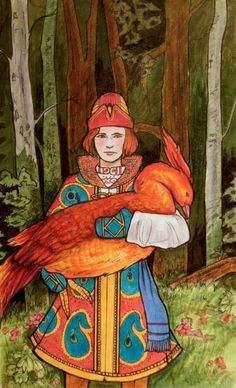 A tribute to the wonderful drawings of Ivan Bilibin drawn in moleskine with copics, pencil crayons, and ink. Tribute to Bilibin Russian Folk, Russian Art, Fairytale Art, Firebird, Conte, Mythical Creatures, Traditional Art, Folk Art, Fairy Tales