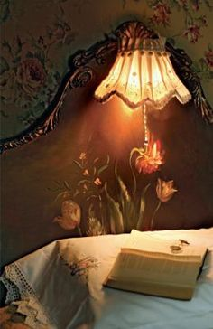 Victorian trading company It's a nightlight that hangs off the headboard! Great for kids or for reading in bed! Victorian Headboards, Headboard Lamp, Painted Headboard, Brown Headboard, Antique Headboard, Victorian Trading Company, Reading In Bed, Bedtime Reading, Beautiful Bedrooms