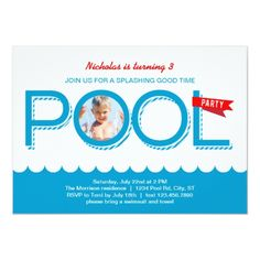 Shop Pool Party Birthday Photo Invitation created by marlenedesigner. Personalize it with photos & text or purchase as is! Pool Party Kids, Summer Pool Party, Beach Party, Photo Invitations, Invitation Cards, Pool Party Birthday Invitations, Birthday Cards, Birthday Photos, Birthday Ideas