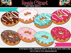 Donuts 1 Clipart Digital Zip Download by MaddieZee on Etsy